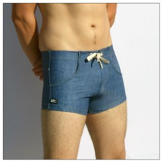 Mens Swimming Trunks - Denim Look - Swim Trunks for Men